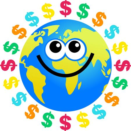 earnings:  world globe surrounded by dollar currency symbols.