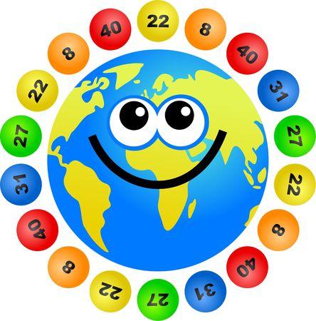 world globe surrounded by lottery balls photo