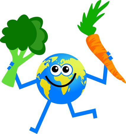 world agricultural: cartoon world globe man holding a carrot in one hand and a chunk of broccoli in the other Stock Photo