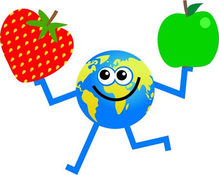world agricultural:  world globe man holding an apple in one hand and a strawberry in the other