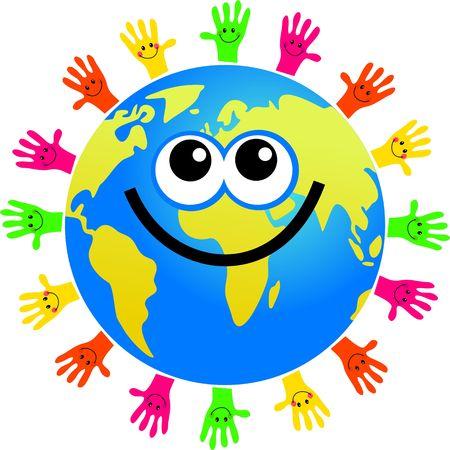 planeta tierra feliz: feliz mundo de dibujos animados mundo rodeado por las manos de diferentes colores, con caras sonrientes