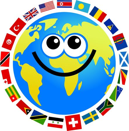 international internet: happy  world globe surrounded by flags