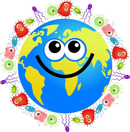 microbiology: Happy  world globe surrounded by bacteria and germs