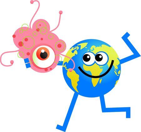Happy cartoon world globe man holding a giant germ photo