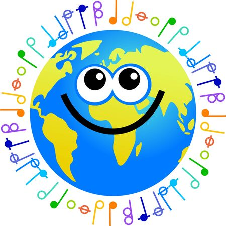 geographic: Happy  world globe surrounded by musical notes Stock Photo