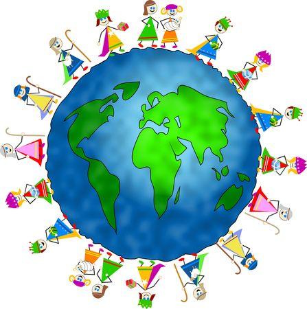 rois mages: Globe entour� d'enfants habill�s en costumes Nativit� pour c�l�brer la naissance de J�sus.