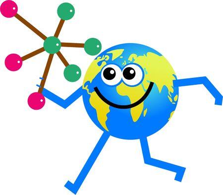 Cartoon world globe man holding a molecule Stock Photo - 3637485