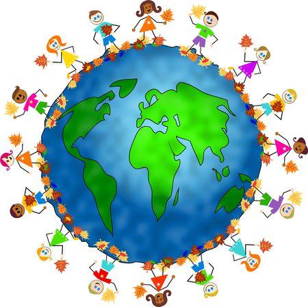 Mundo mundo rodeado por los ni�os la celebraci�n de diversas hojas de oto�o. Foto de archivo - 3637488