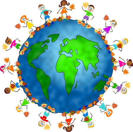 nationalities: World globe surrounded by diverse children holding autumn leaves. Stock Photo