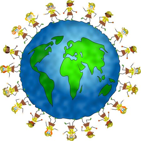 world globe surrounded by brownies from different nations ready to be helpful in their communities. photo