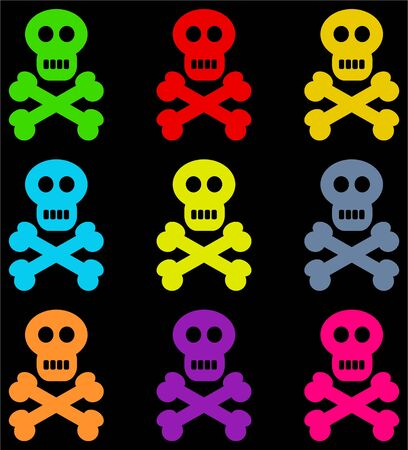 buccaneer: colourful skull and crossbone design set against a black background