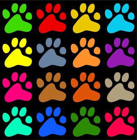 huellas de animales: colorido animal pata decorativa de impresi�n de papel tapiz de fondo patr�n Foto de archivo