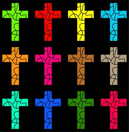 patterned wallpaper: decorative colourful Christian cross wallpaper background pattern Stock Photo