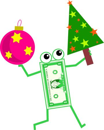financial item: Cartoon dollar man holding a Christmas tree in one hand and a bauble in the other.