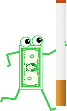 cigaret: cartoon dollar man carrying a giant cigarette isolated on white