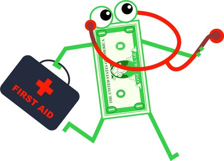 doctor money: Cartoon dollar man carrying a first aid bag and a stethoscope