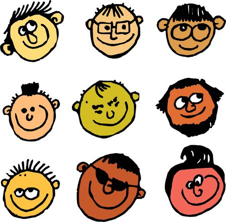 caucasian: group of diverse male faces drawn in a scruffy cartoon style isolated on white