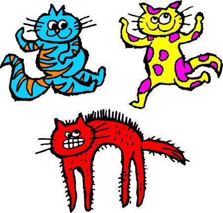 meow: group of colourful and scruffy cartoon cats