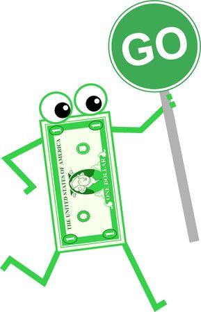 spending money: Cartoon dollar man holding a go sign isolated on white
