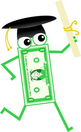 Cartoon dollar man wearing graduation cap and holding examination certificate photo