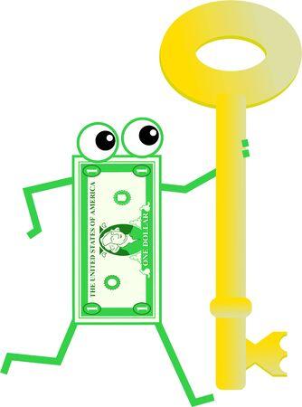 Cartoon dollar man holding a giant golden key isolated on white. photo