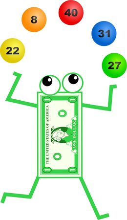 financial item: Cartoon dollar man juggling lottery balls isolated on white.