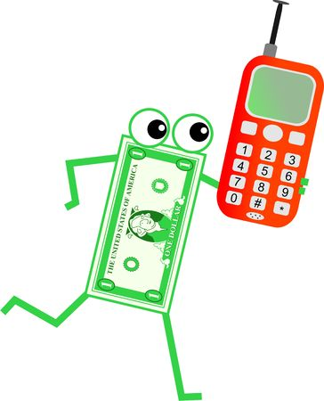 financial item: Cartoon dollar man chatting on a mobile telephone.
