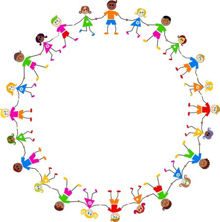 cultural: Group of happy and diverse children holding hands in a circle isolated on white