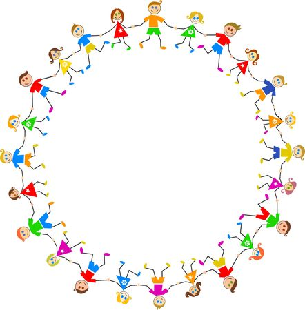 Group of happy caucasian boys and girls holding hands in a circle isolated on white. Stock Photo