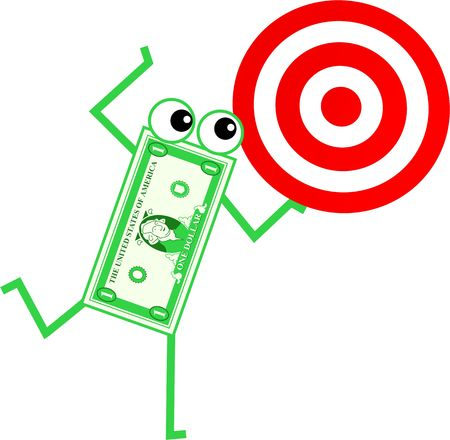 financial item: cartoon dollar man holding a target board isolated on white.