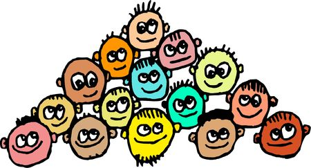 gatherings: Crowd of scruffy diverse cartoon men isolated on white.