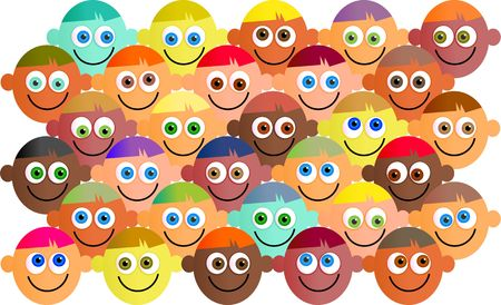 mixed race: Happy, smiling, diverse crowd of cartoon faces.