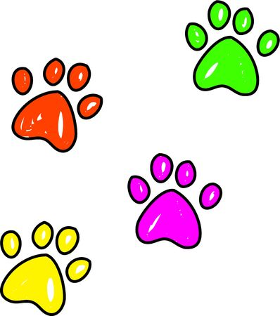 Colourful whimsical drawing of dog paw prints isolated on white.