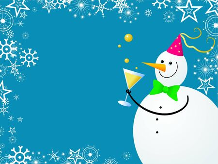 x mas party: Decorative Christmas snowflake snowman page border design Stock Photo