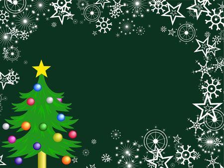 festive occasions: Decorative festive Christmas tree snowflake background border design. Stock Photo