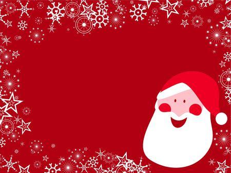 x mas background: Decorative seasonal Christmas snowflake santa background border design. Stock Photo