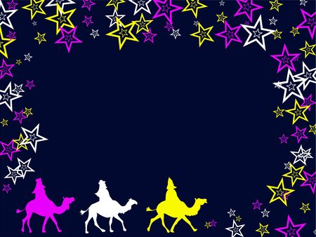 wisemen: Decorative three wisemen Christmas page background border design.