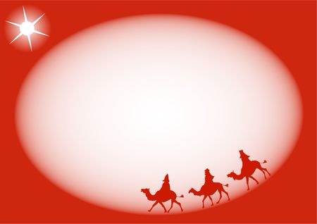 wisemen: Simple silhouette three kings religious Christmas page border design. Stock Photo