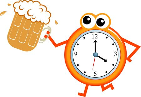Cartoon clock man holding a pint of beer isolated on white.