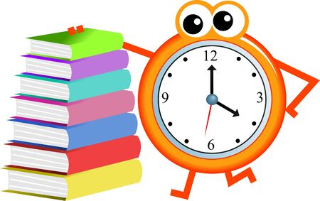 Cartoon clock man with a stack of books isolated on white.