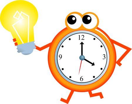 Cartoon clock man holding a light bulb isolated on white. Stock Photo