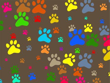 animal track: Decorative colourful animal paw print wallpaper background design. Stock Photo