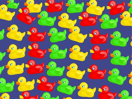 rubber ducks: Colourful cute cartoon rubber duck wallpaper background design.