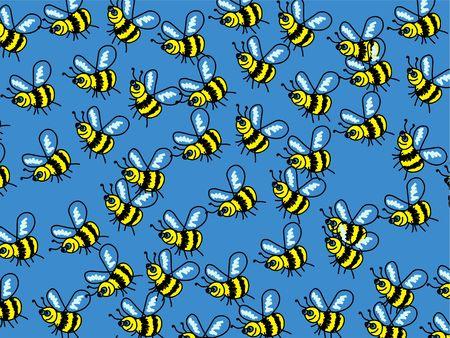 swarm: Cute, cartoon bumble bee wallpaper background design.
