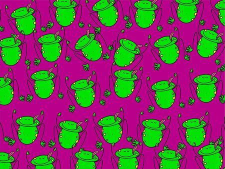 Cute, cartoon green frog wallpaper background design. Stock Photo - 3911045
