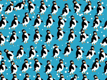 penguins: Cute cartoon penguin and snow wallpaer background design.
