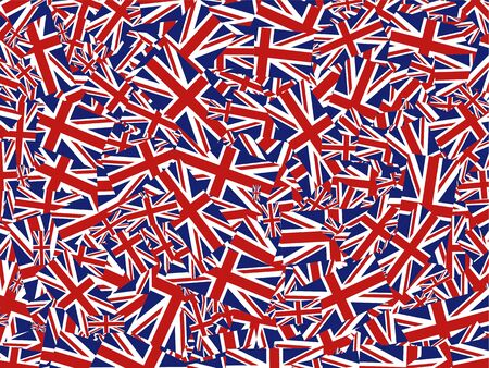 Flag of Great Britain jumbled up in a wallpaper background design. Stock Photo