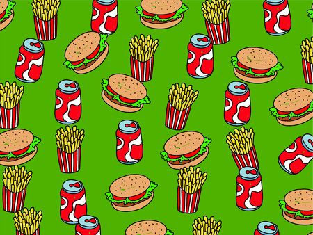 Tasty fast food burgers, fries and soad wallpaper background design. Stock Photo - 3949849