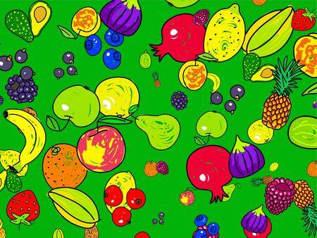 Delicious mixed fruit wallpaper background design - apples, bananas, pears, figs, avocados, blackberries, blackcurrants, raspberries, blueberries, peaches, oranges, strawberries, pomegranates, pineapple, lemon, kiwi, starfruit Imagens