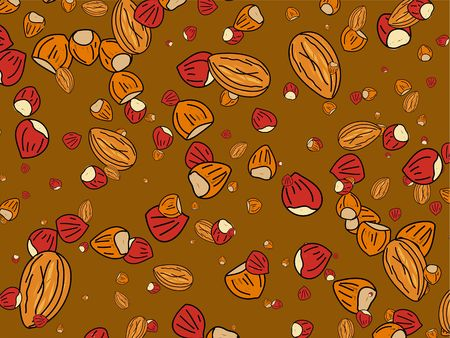 mixed nuts: Abstract nutty mixed nuts wallpaper background design.